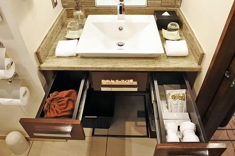 最上階のグランヴィアフロアには、高級感のある洗面アメニティが用意されています。