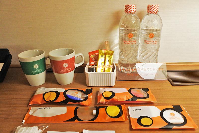 リーズナブルなスタンダードツインルームでも「ホテルユニバーサルポートヴィータ」は客室のアメニティも充実しています。
