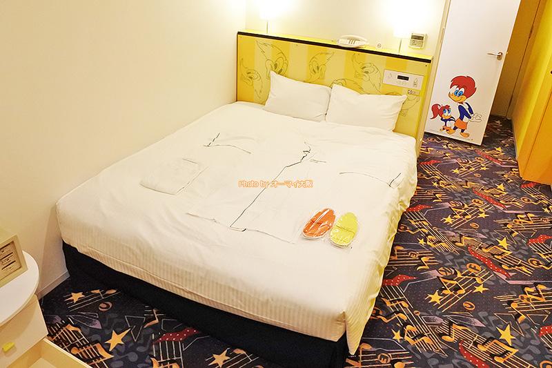 客室アメニティも充実している「ホテル近鉄ユニバーサルシティ」のウッディーウッドペッカーのコラボルームです。