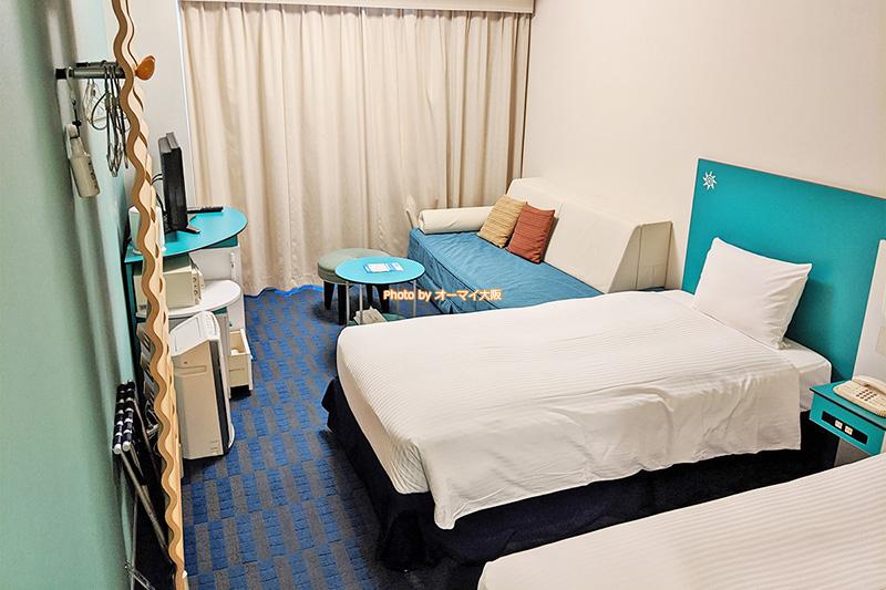 客室数が最も多い「カジュアルツインルーム」は「ホテル近鉄ユニバーサルシティ」の工夫が詰まっています。
