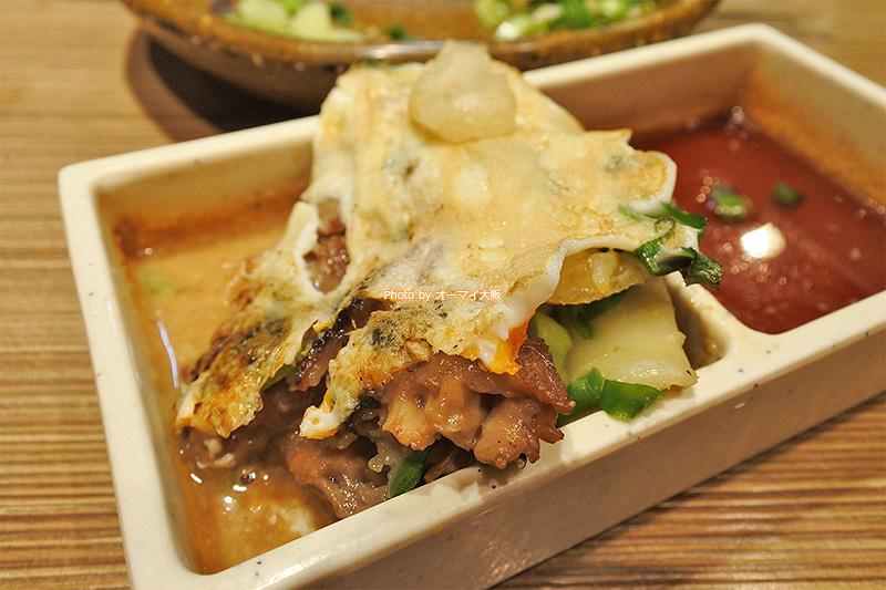 スジ肉もたっぷりと入っている「牛スジねぎ焼き」。お好み焼き「味乃家」は食材へのこだわりもすごいです。